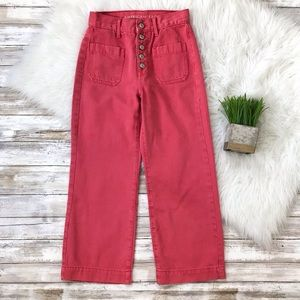 America Eagle Pink Wide Leg Crop Jeans